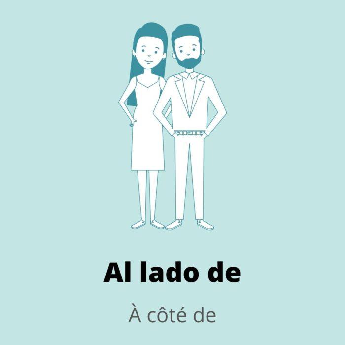 Adverbe lieu espagnol à côté de