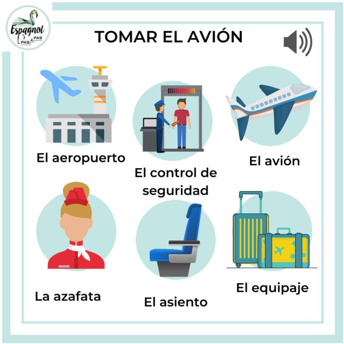 vocabulaire pour prendre avion en espagnol